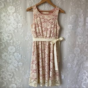 Areve Anthropologie Ivory Lace Pink Lined Dress S